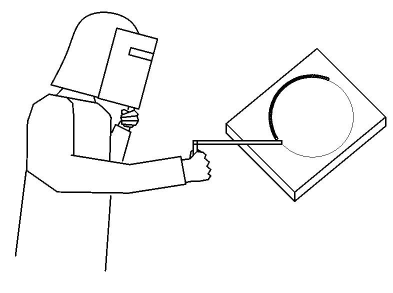 全周溶接作業の様子を示した図です。