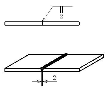 突き合わせ溶接のイメージ図です。