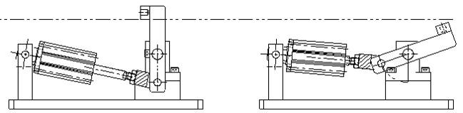 シリンダーストロークを長くして、配置を高くすれば回転量が増加してストッパを倒しきることができます。
