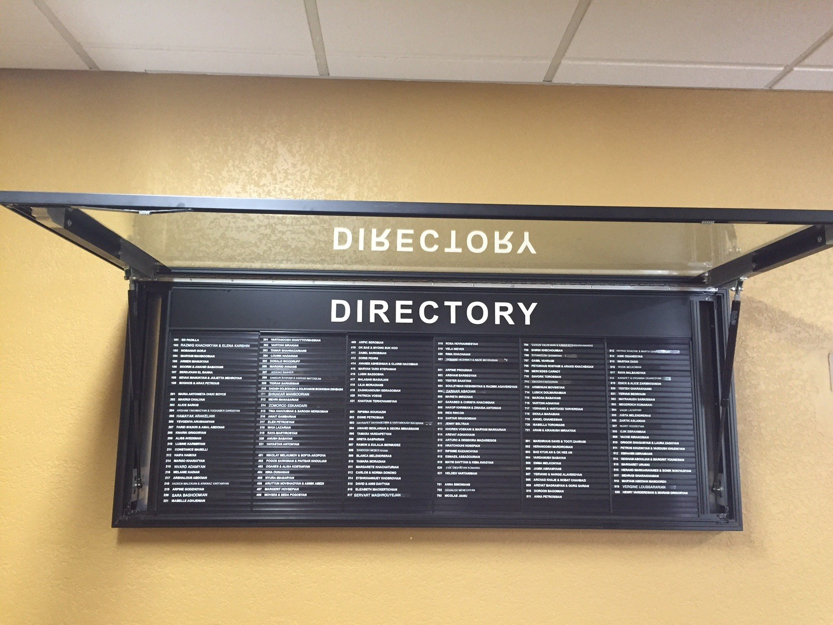 Large Door Directory with Gas Lift Supports