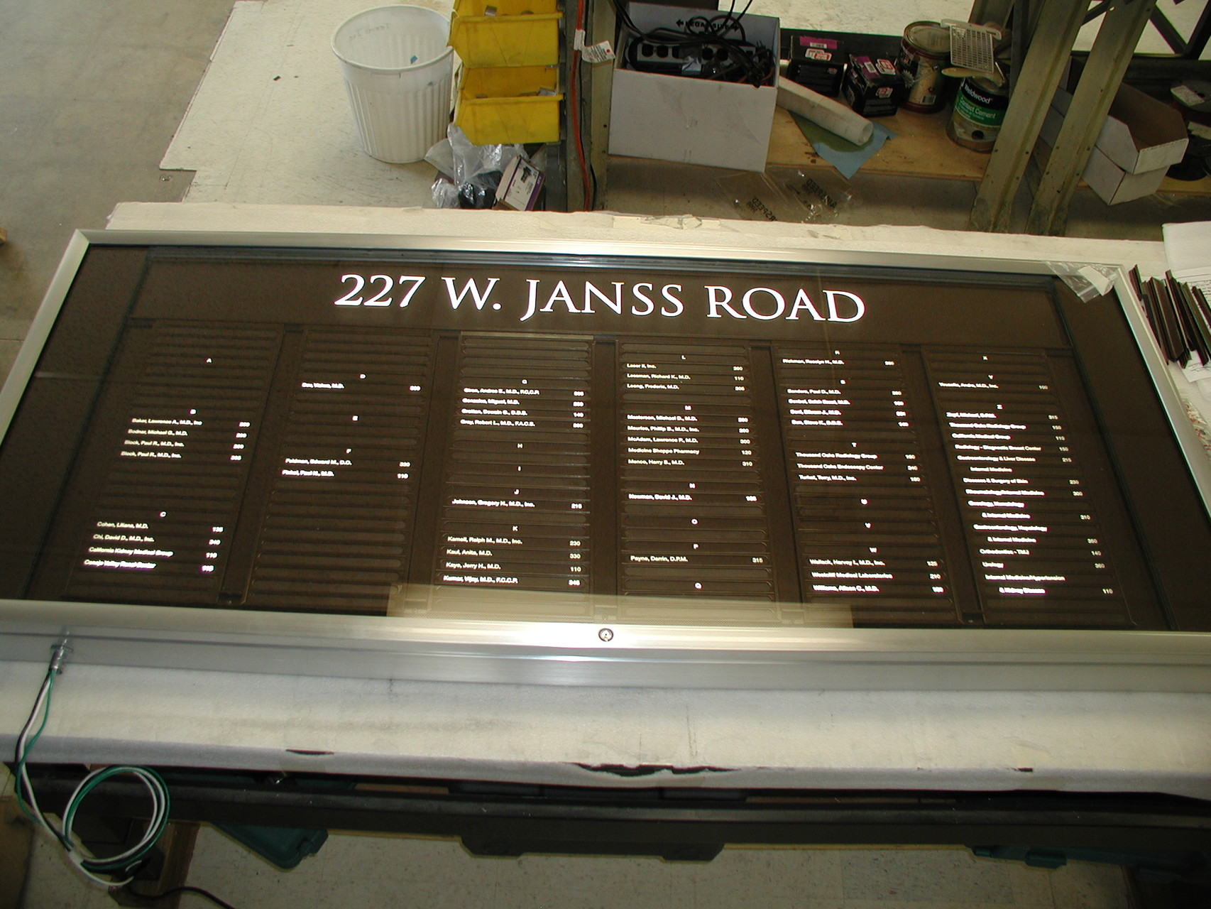 Illuminated Directory with Custom Color Interior Name Strips