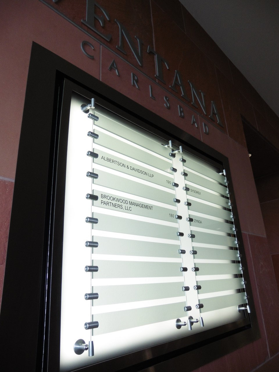 Illuminated Directory with Cable suspended Strips