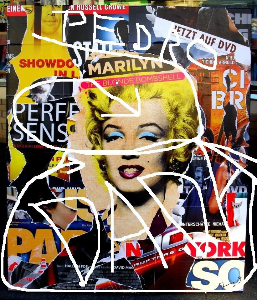 Pedro Meier Artist – »DADA Marilyn Monroe« – Plakatabriss – Décollage – Mixed Media auf Papier, auf Leinwand – Foto © Pedro Meier Multimedia Artist – (Ateliers: Niederbipp – Olten – Bangkok – Thailand)