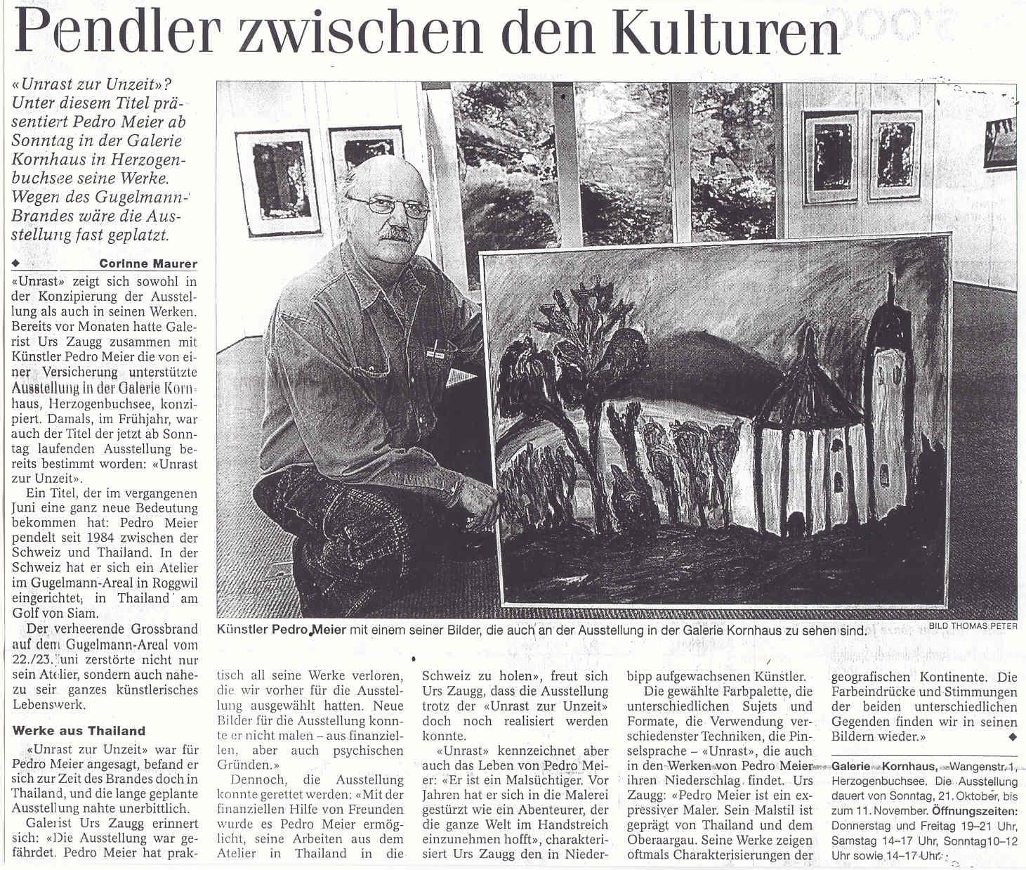 Galerie Kornhaus Herzogenbuchsee – Presse: »BZ Berner Zeitung« (Corinne Maurer): Pedro Meier Artist »Pendler zwischen den Kulturen« – (nach dem Atelierbrand in Roggwil-Wynau, Gugelmann Areal) – VISARTE Schweiz Solothurn – Ateliers in Niederbipp & Thailand