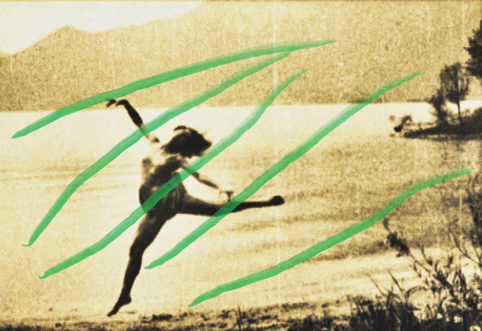 Pedro Meier – Over painted photography from the twenties – »In green«– 2017 – by Pedro Meier Swiss-German Multimedia Artist – Gerhard Meier-Weg Niederbipp (Olten, Bangkok)