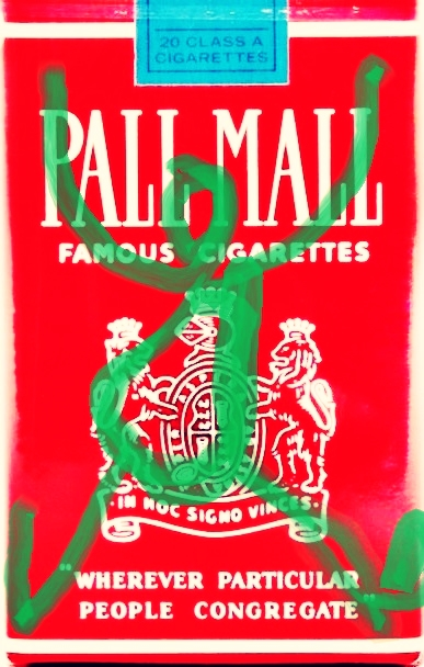 Pedro Meier – »Pall-Mall-Art – Nr.6« – over painted Pall Mall cigarette packs – 2017 – Basel Collection – Photo © Pedro Meier Multimedia Artist/ProLitteris Zürich. Visarte Solothurn – Ateliers: Gerhard Meier-Weg Niederbipp Bern Oberaargau – Olten –Bangkok