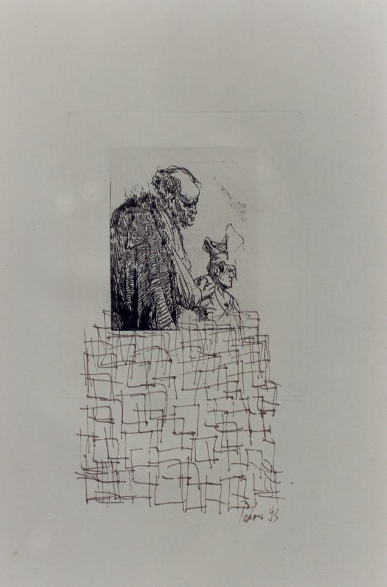 Anmerkungen zu Rembrandt – Federzeichnungen, chinesische Sepia-Tusche über antiken Rembrandt Radierungen – Kunstmuseum Olten 1994 – Solo-Ausstellung von Pedro Meier Multimedia Artist – Konzept: Peter Killer Konservator – © Pedro Meier Niederbipp  Nr. 18