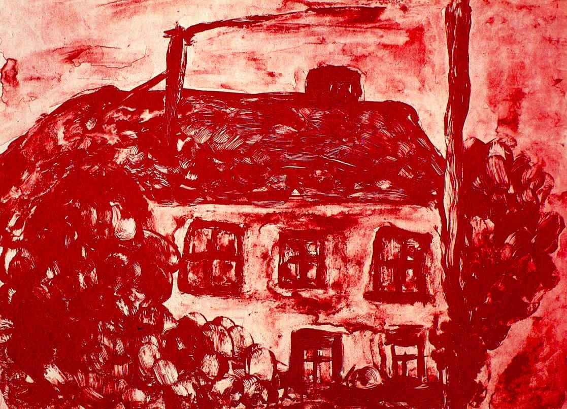 Gerhard Meier Haus – Ausstellung »Malen ist auch ein archaisches Unterfangen« 2010  – Sepia-Lithographie von Pedro Meier Multimedia Artist in Ausstellung Räberstöckli Kulturverein – Niederbipp alias Amrain