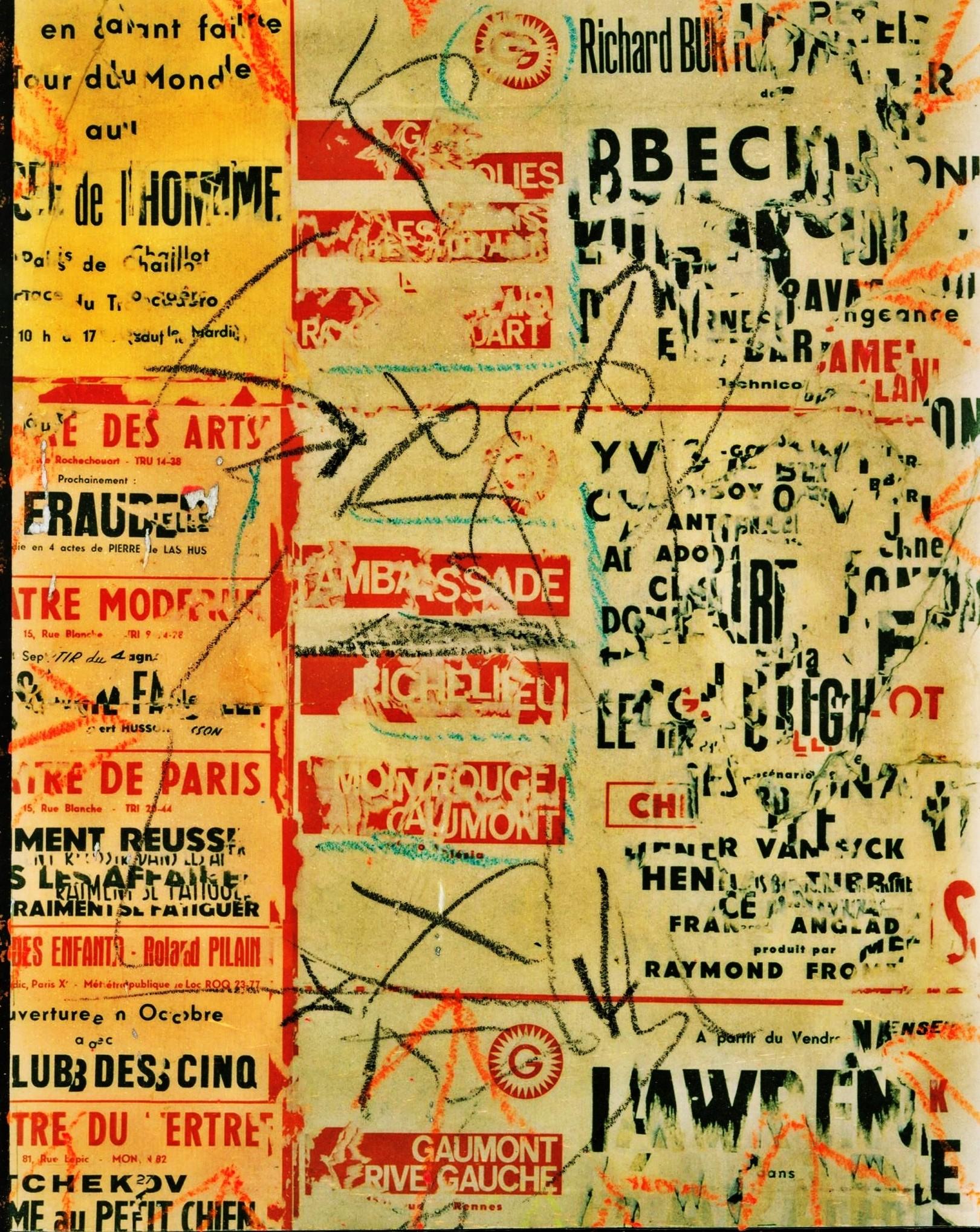 Pedro Meier Artist – Plakatabriss – Décollage – »Übermalt IV« – Mixed Media auf Papier, auf Leinwand – Foto © Pedro Meier Multimedia Artist – (Ateliers: Niederbipp – Olten – Bangkok – Thailand)