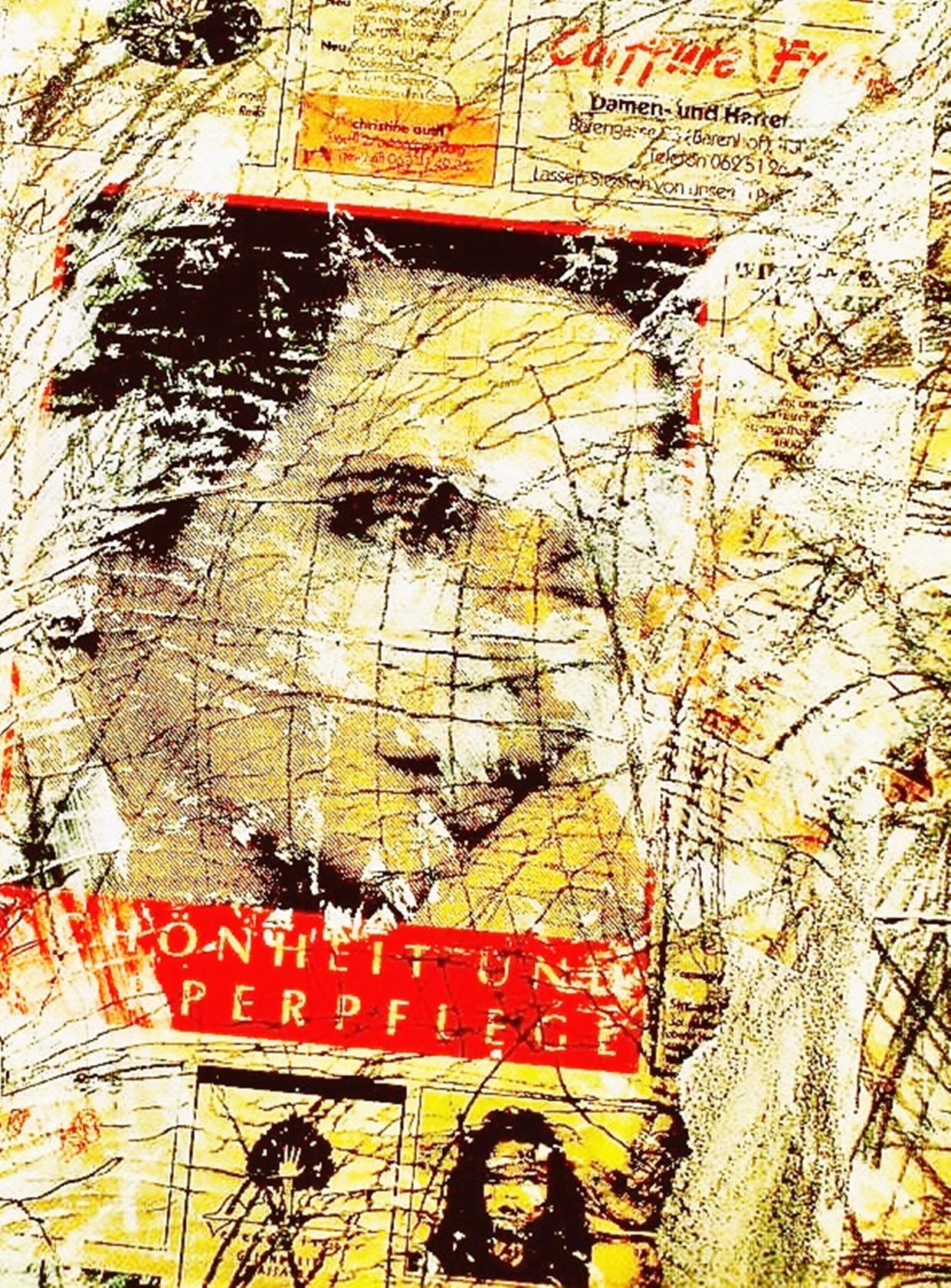 Pedro Meier Artist – »Mädchenkopf« – Zeitungspapier übermalt – Plakatabriss – Décollage – Mixed Media auf Papier, auf Leinwand – Foto © Pedro Meier Multimedia Artist – (Ateliers: Niederbipp – Olten – Bangkok – Thailand)