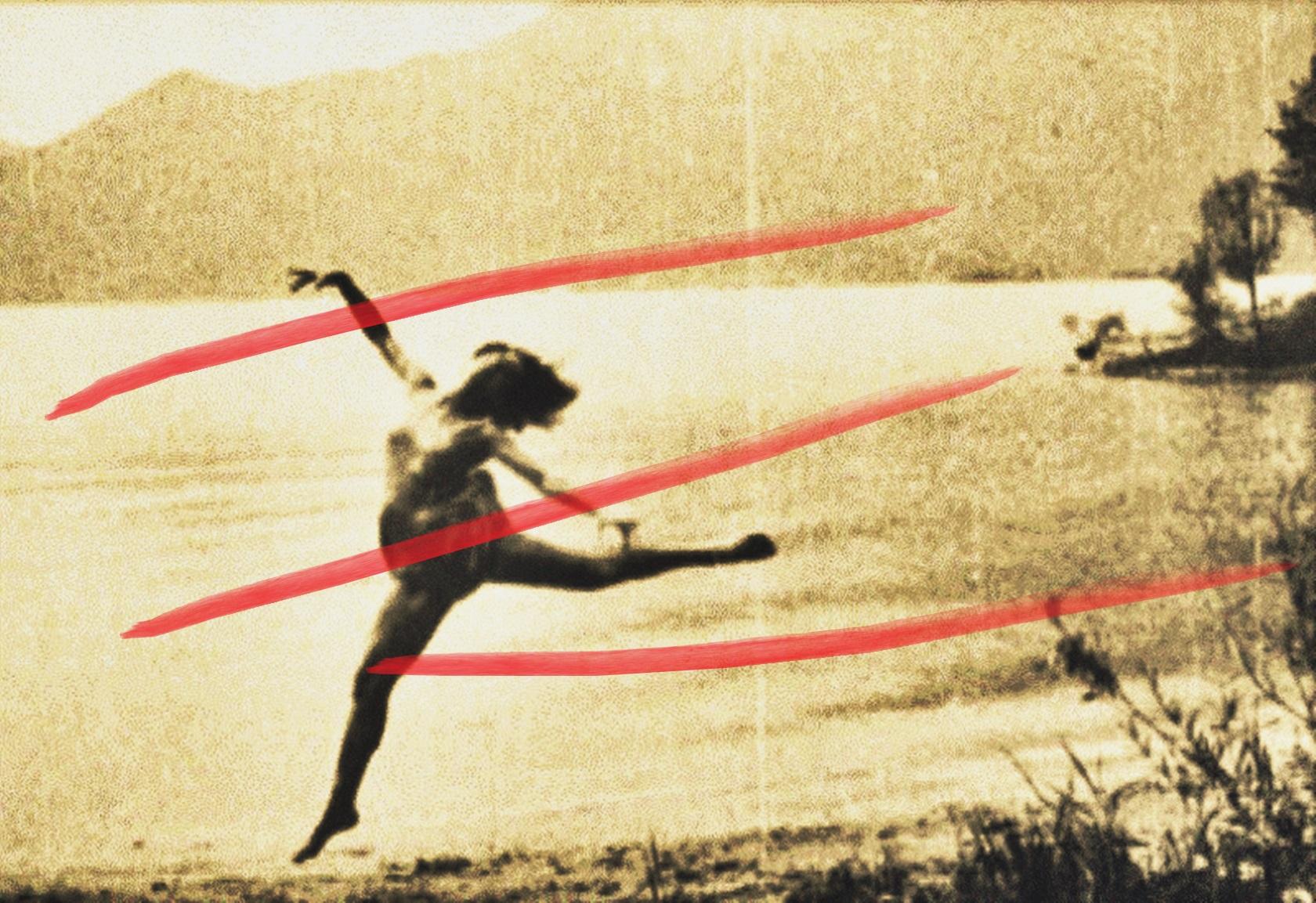 Pedro Meier – Over painted photography from the twenties – »In red« – 2017 – by Pedro Meier Swiss-German Multimedia Artist – Gerhard Meier-Weg Niederbipp (Olten, Bangkok)
