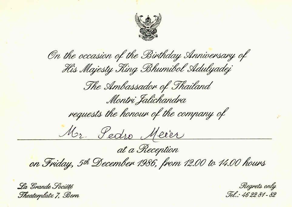 Pedro Meier Artist – Invitation – Royal Thai Embassy Switzerland, Bern – สถานเอกอัครราชทูต ณ กรุงเบิร์น ประเทศสวิตเซอร์แลนด์ – The Ambassador of Thailand Montri Jalichandra – Friday, 5th December 1986 – Photo © Pedro Meier Multimedia Artist Niederbipp