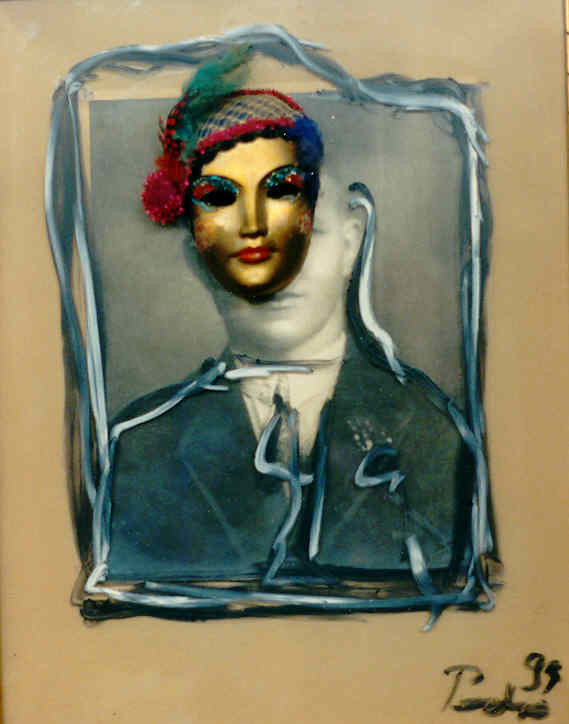 Pedro Meier – Alte Foto übermalt mit Maske – Assemblage 1993– Foto © Pedro Meier/ProLitteris Multimedia Artist – Atelier: Gerhard Meier Weg Niederbipp – Olten – Bangkok