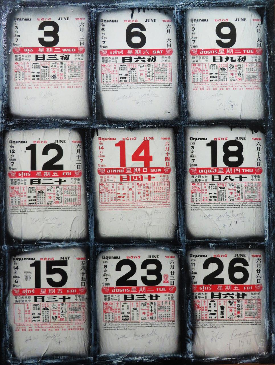 Pedro Meier Artist – Chinesische Kalenderblätter übermalt – Ölstift über Kalenderblatt auf Leinwand montiert 1998 – Foto © Pedro Meier / ProLitteris Multimedia Artist – Atelier: Gerhard Meier Weg Niederbipp – Olten – Bangkok