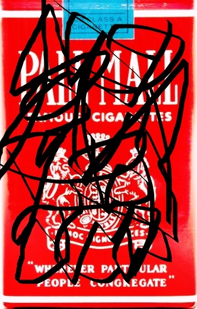 Pedro Meier – »Pall-Mall-Art – Nr.3« – over painted Pall Mall cigarette packs – 2017 – Basel Collection – Photo © Pedro Meier Multimedia Artist/ProLitteris Zürich. Visarte Solothurn – Ateliers: Gerhard Meier-Weg Niederbipp Bern Oberaargau – Olten –Bangkok