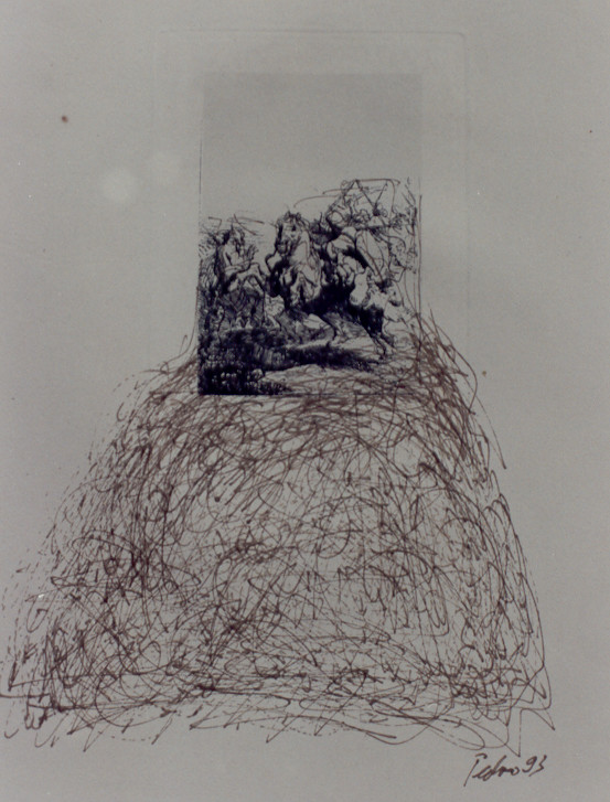 Anmerkungen zu Rembrandt – Federzeichnungen, chinesische Sepia-Tusche über antiken Rembrandt Radierungen – Kunstmuseum Olten 1994 – Solo-Ausstellung von Pedro Meier Multimedia Artist – Konzept: Peter Killer Konservator – © Pedro Meier Niederbipp  Nr.  10