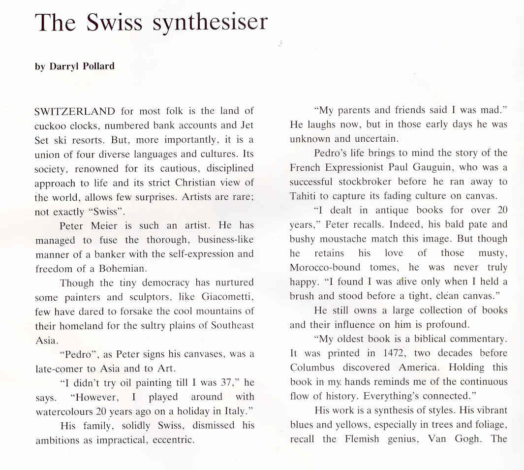 Pedro Meier Multimedia Artist newspaper article in »Bangkok Post«: – »The Swiss synthesiser« – Paintings »Scenes of Thailand« (September 7. 1986) by Darryl Pollard – Exhibition Narai Gallery Bangkok – Opening by the Embassy of Switzerland -  1