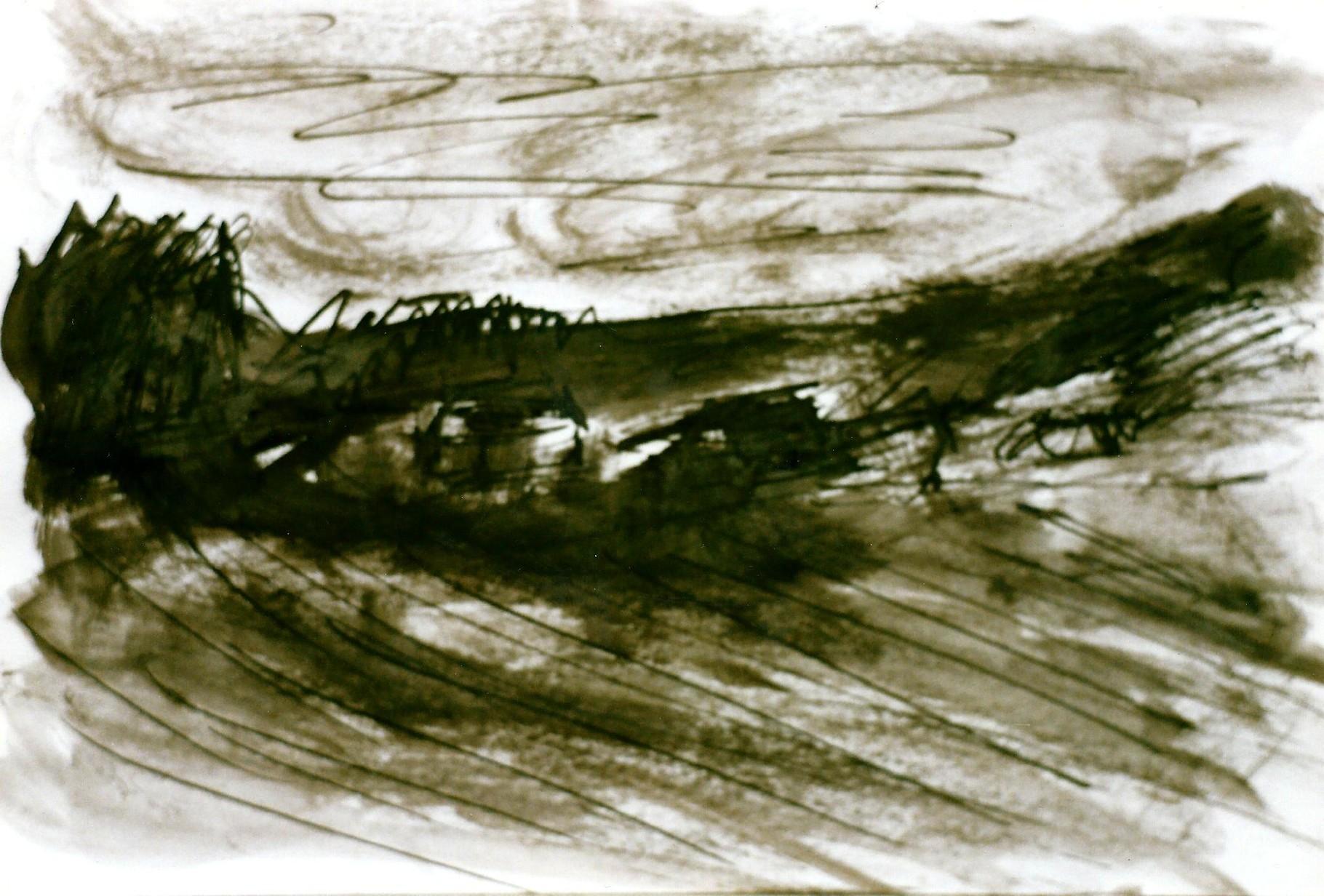 Pedro Meier Multimedia Artist – Zyklus von Federkiel-Zeichnungen (No. IX) – Chinesische Sepia Tinte auf Papier – 30x21 cm – 1996 – Foto © Pedro Meier/ProLitteris