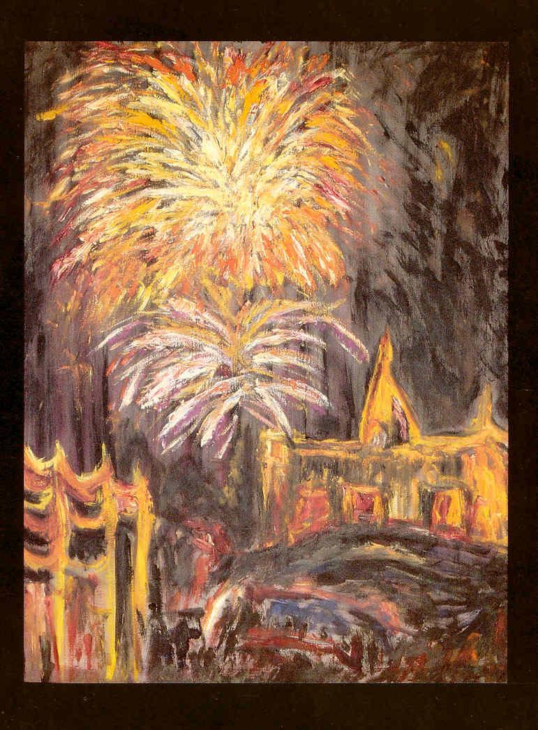 Pedro Meier Exhibition: »Nailert Park Gallery« Hilton International Bangkok »A Swiss artist in Thailand« – November 1989 – Opening by the Embassy of Switzerland Bangkok – Invitation Card Painting: »Fireworks on the king's birthday« Pedro Meier Niederbipp