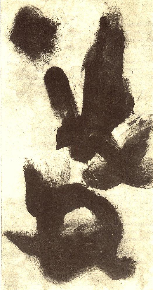 Pedro Meier Multimedia Artist – aus »Zyklus – Japanische Tuschpinselmalerei« Nr. 6 – entstanden im Dschungelkloster am Gulf of Siam 1998 – alle Tuschpinselmalereien später veröffentlicht in der Literaturzeitschrift »Drehpunkt« Basel – Foto © Pedro Meier