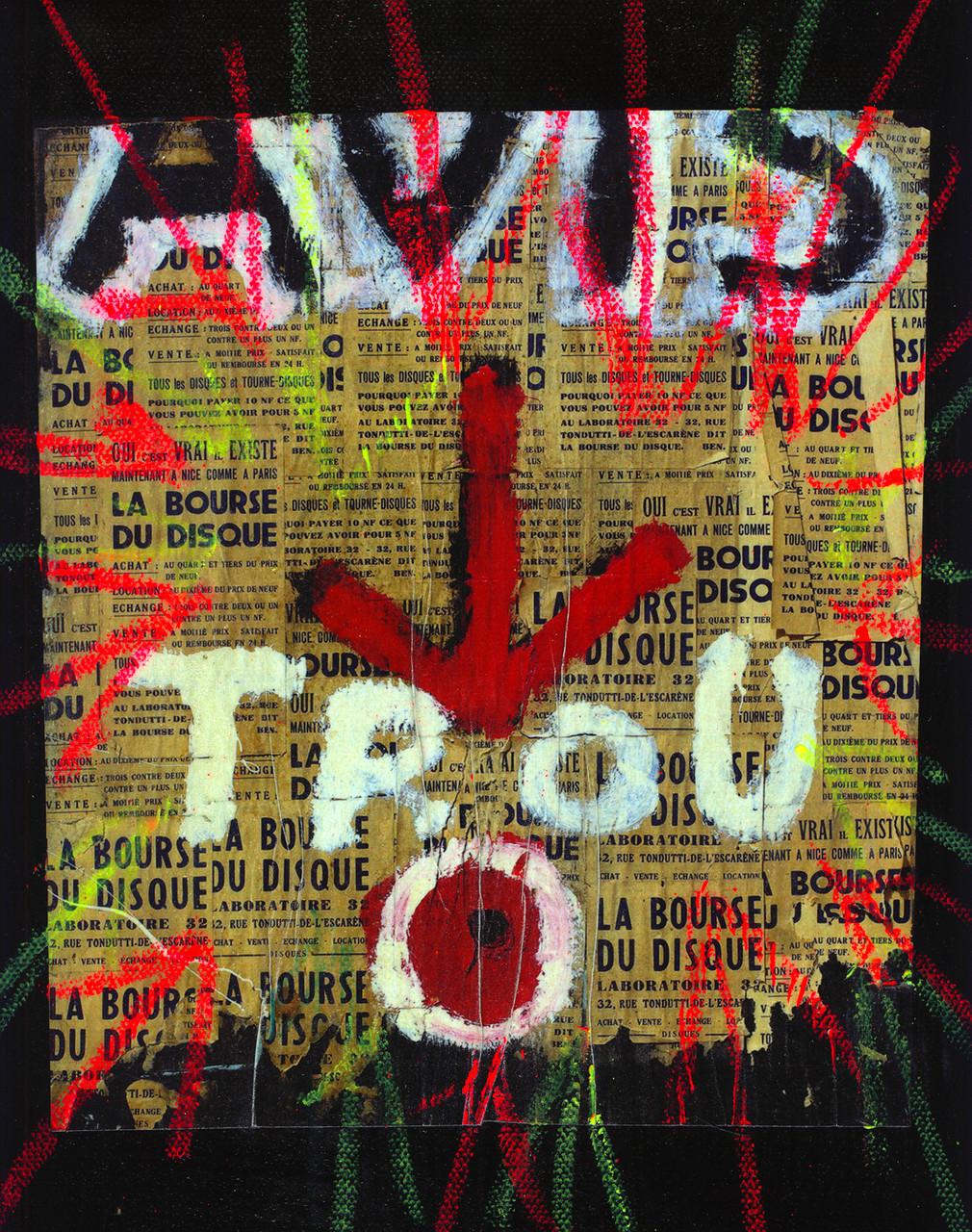 Pedro Meier – Collage auf Zeitung übermalt – Zeitung auf Leinwand  2016 – Foto © Pedro Meier/ProLitteris Multimedia Artist – Atelier: Gerhard Meier Weg Niederbipp – Olten – Bangkok