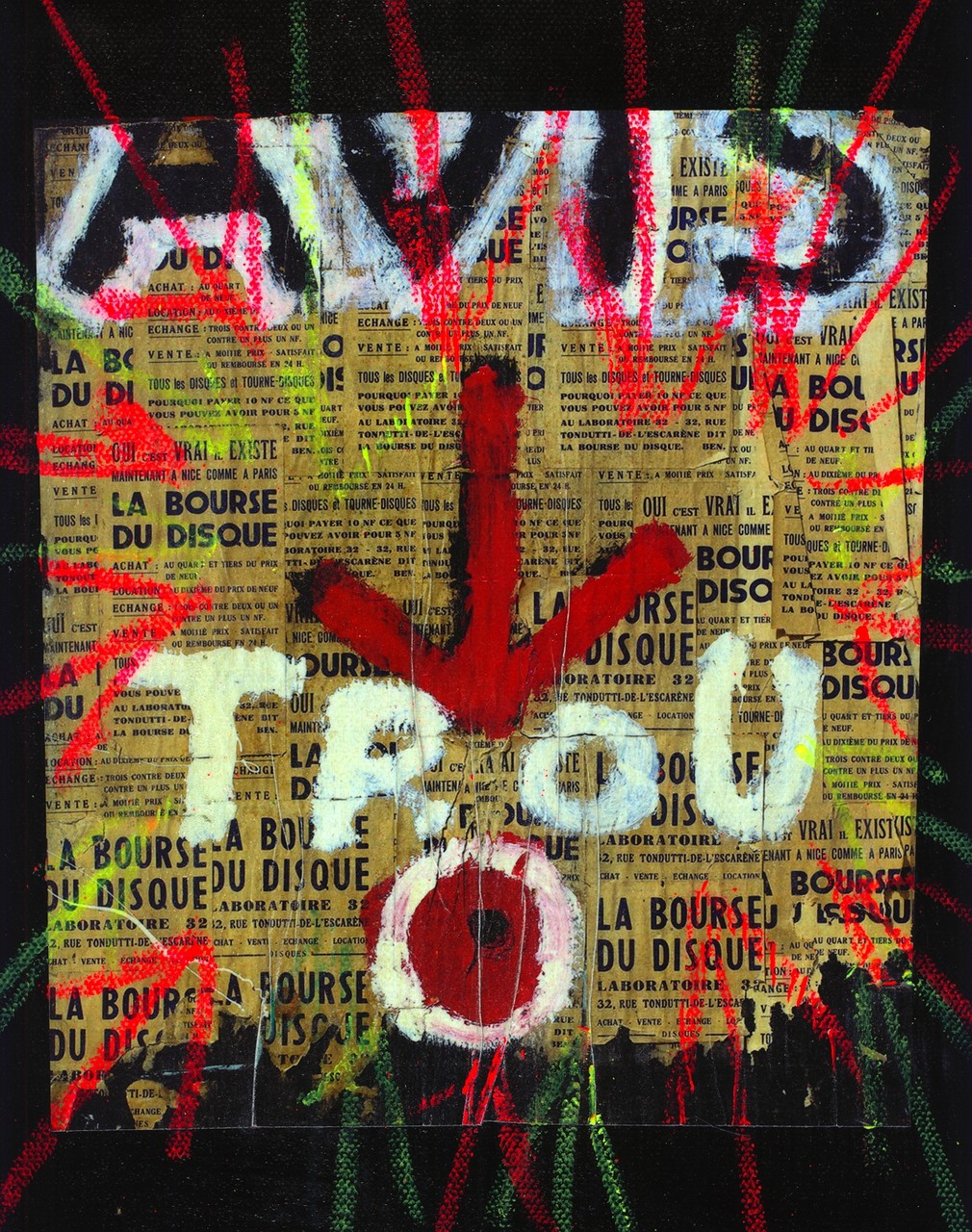 Pedro Meier Artist – »Avis Trou« – Übermalt – Plakatabriss – Décollage – Mixed Media auf Papier, auf Leinwand – Foto © Pedro Meier Multimedia Artist – (Ateliers: Niederbipp – Olten – Bangkok – Thailand)