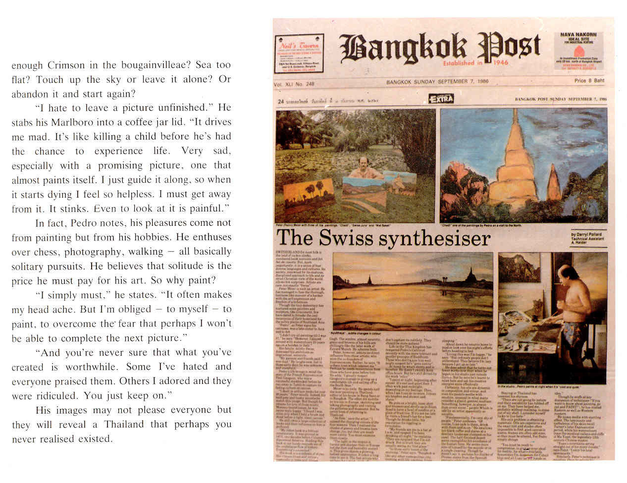Pedro Meier Multimedia Artist newspaper article in »Bangkok Post«: – »The Swiss synthesiser« – Paintings »Scenes of Thailand« (September 7. 1986) by Darryl Pollard – Exhibition Narai Gallery Bangkok – Opening by the Embassy of Switzerland  - 4