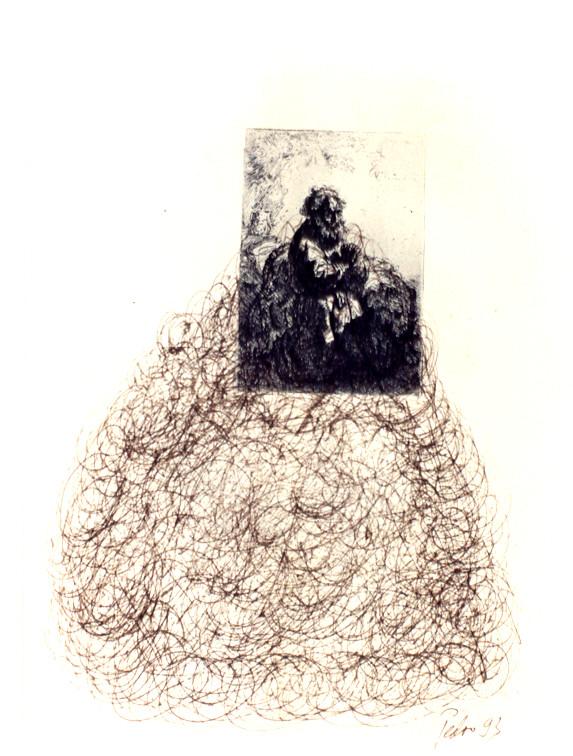 Anmerkungen zu Rembrandt – Federzeichnungen, chinesische Sepia-Tusche über antiken Rembrandt Radierungen – Kunstmuseum Olten 1994 – Solo-Ausstellung von Pedro Meier Multimedia Artist – Konzept: Peter Killer Konservator – © Pedro Meier Niederbipp  Nr. 12