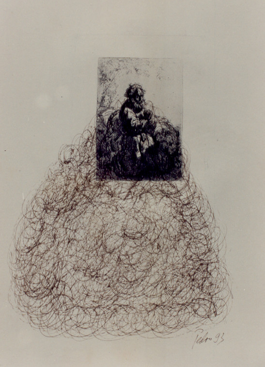 Anmerkungen zu Rembrandt – Federzeichnungen, chinesische Sepia-Tusche über antiken Rembrandt Radierungen – Kunstmuseum Olten 1994 – Solo-Ausstellung von Pedro Meier Multimedia Artist – Konzept: Peter Killer Konservator – © Pedro Meier Niederbipp  Nr. 19