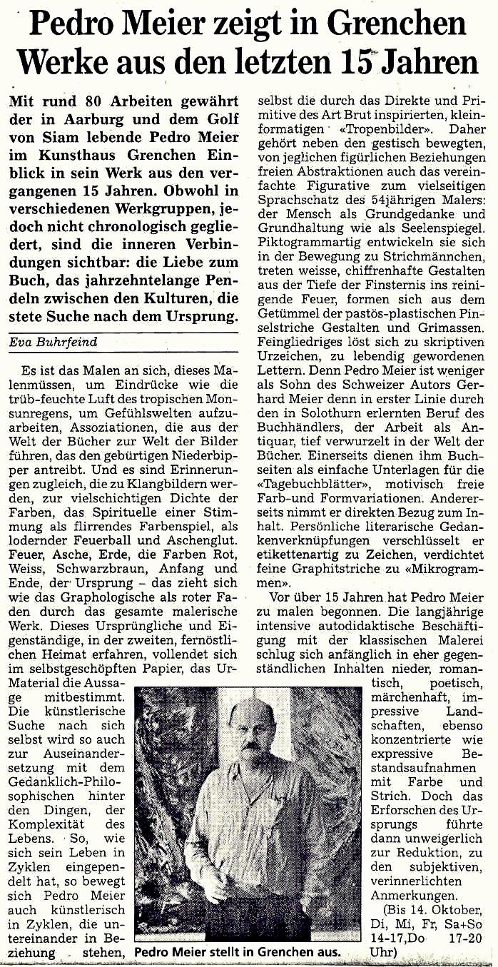 »Pedro Meier zeigt im Kunsthaus Grenchen Werke aus den letzten 15 Jahren« – Solothurner Zeitung 1995 – Text von Eva Buhrfeind – Photo © Pedro Meier/ProLitteris