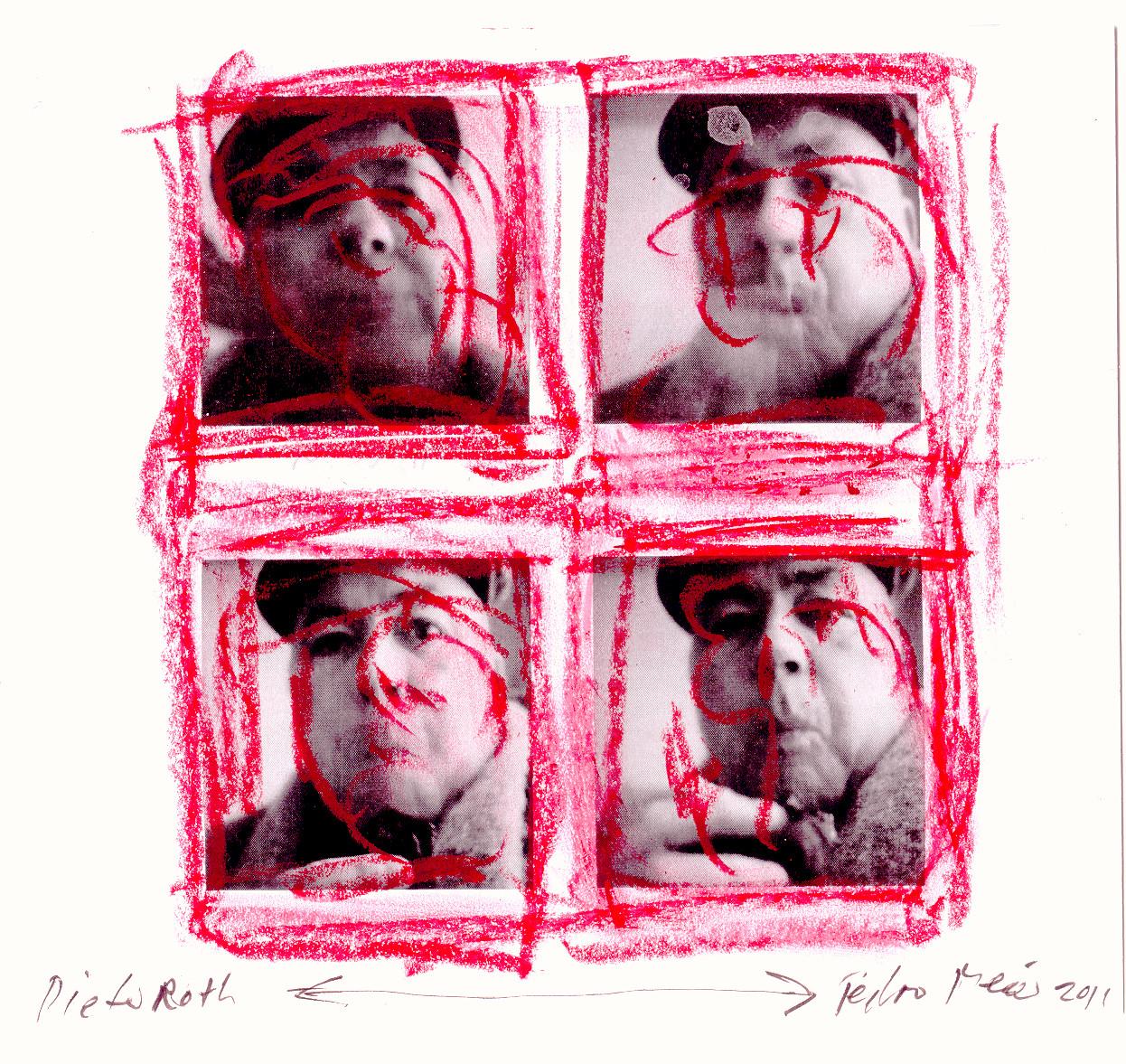 »Dieter Roth – übermalt« – roter Ölstift über Foto 2011 - von Pedro Meier Multimedia Artist – Foto © Pedro Meier/ProLitteris