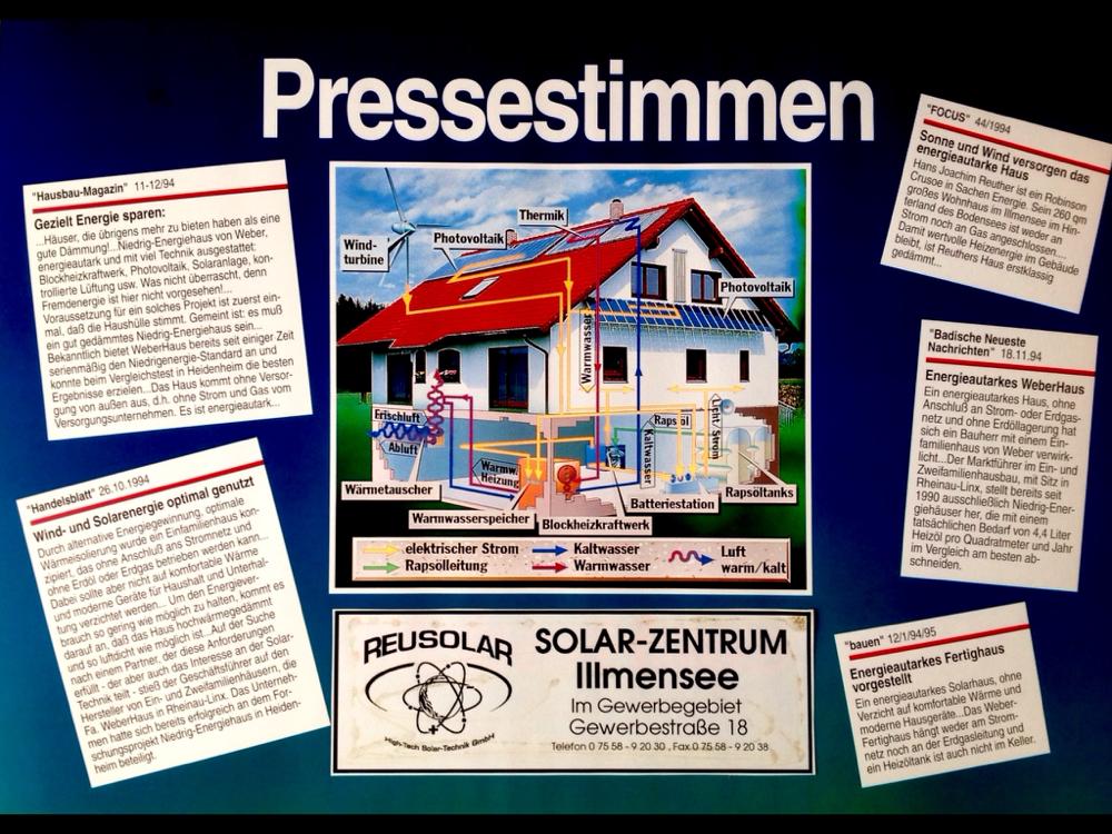 Pressestimmen über REUSOLAR's erste energieautarke Einfamilienhaus