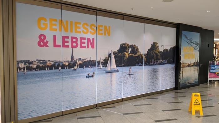 Folien Bauabklebung in der Perle Hamburg