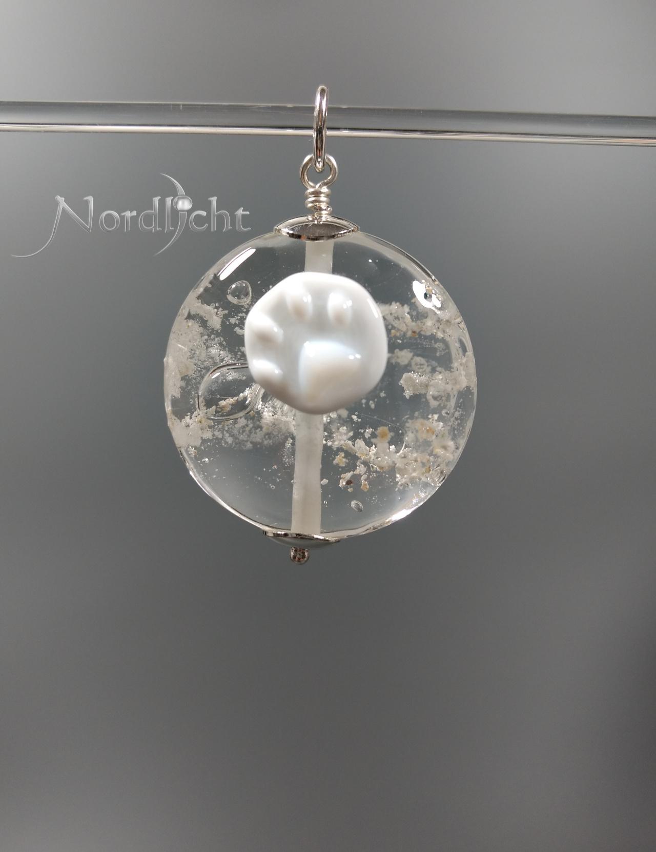 Medaillon in Klarglas mit sichtbarer Asche -auf Wunsch mit Pfotenabdruck-