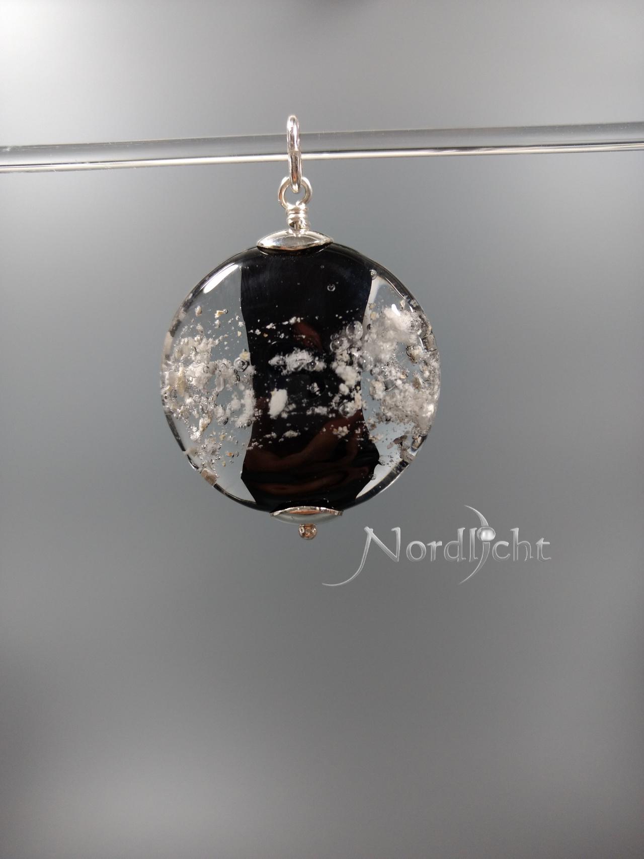 Medaillon mit schwarzem Kern und sichtbarer Asche -auf Wunsch mit Pfotenabddruck-