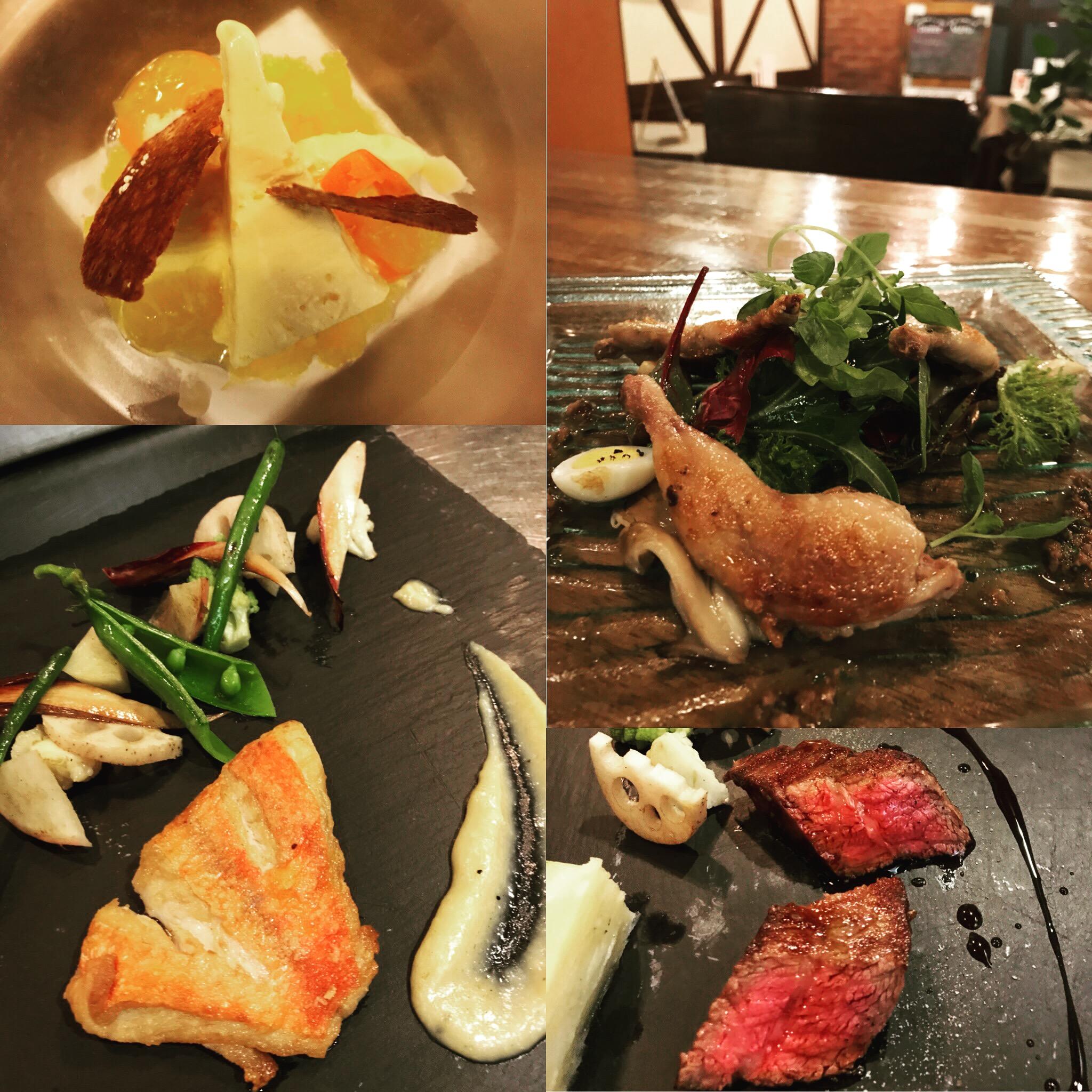 2018/2 ディナーコース ウズラのパッデラ/金目鯛のポワレ/オレンジのセミフレッド、金柑のコンポート