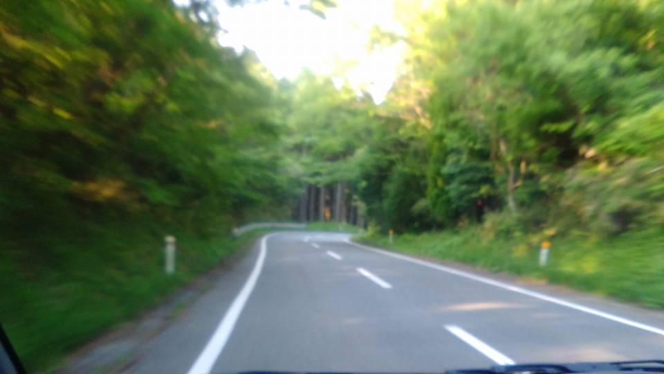阿蘇グリーンロード。西原村〜南阿蘇間の迂回路で所要時間は小一時間。道に不安は少ないが、カーブやアップダウンがとても多い。霧が出ることもあり、外灯が無いため視界不良