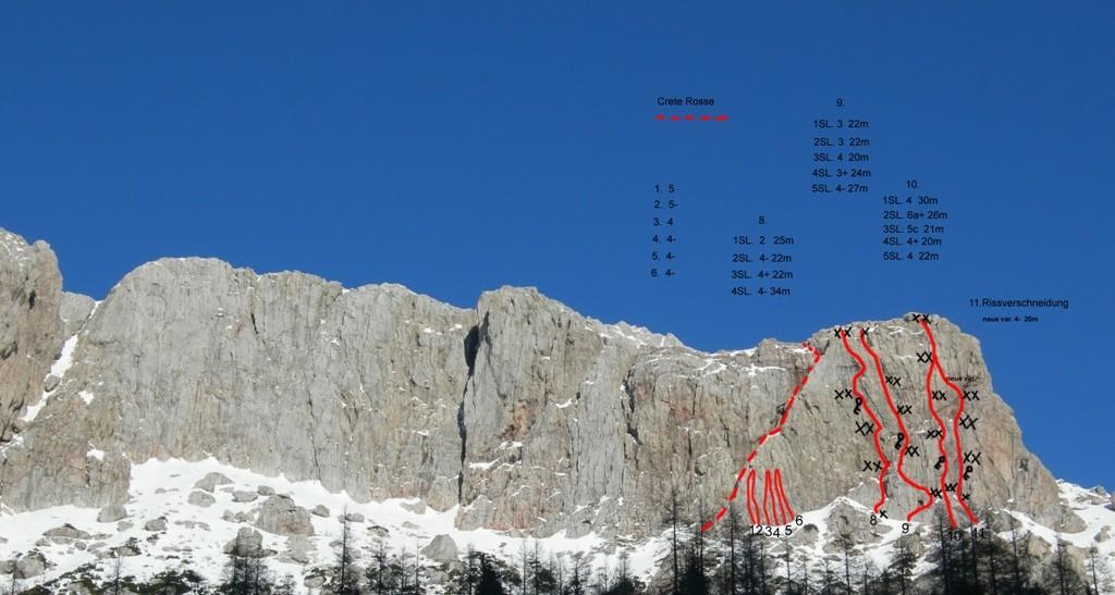 Übersicht über neue Routen in der Trogkofel Südwand