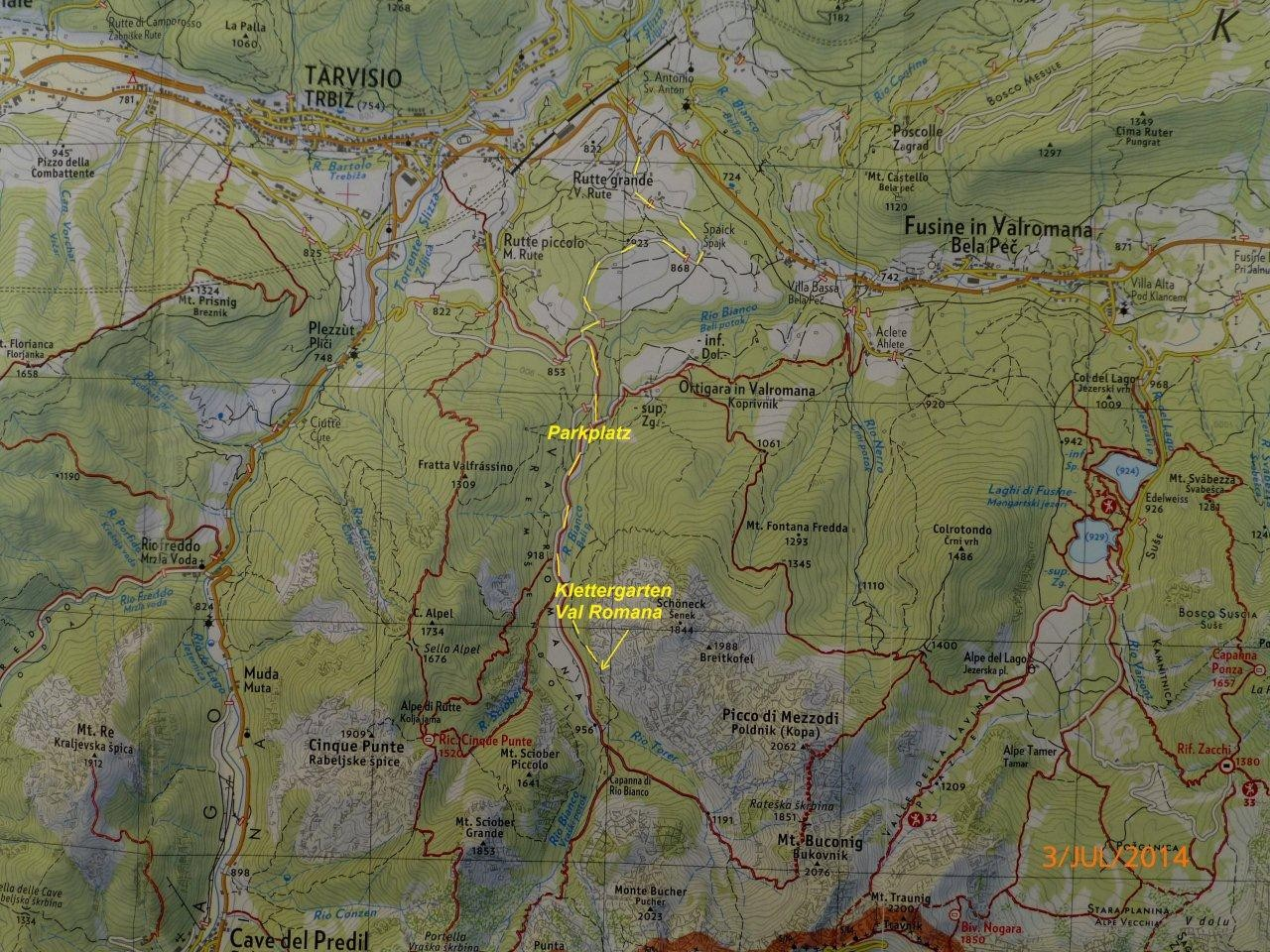 Lage Klettergarten im Val Romana