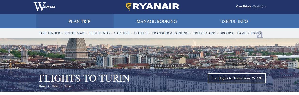 Homepage Ryanair sezione voli per Torino
