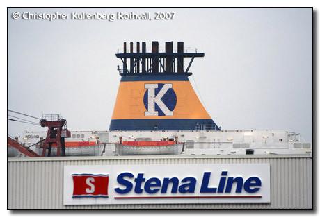 Pride of Telemark's funnel in front of Stena Terminal in Frederikshavn(DK)