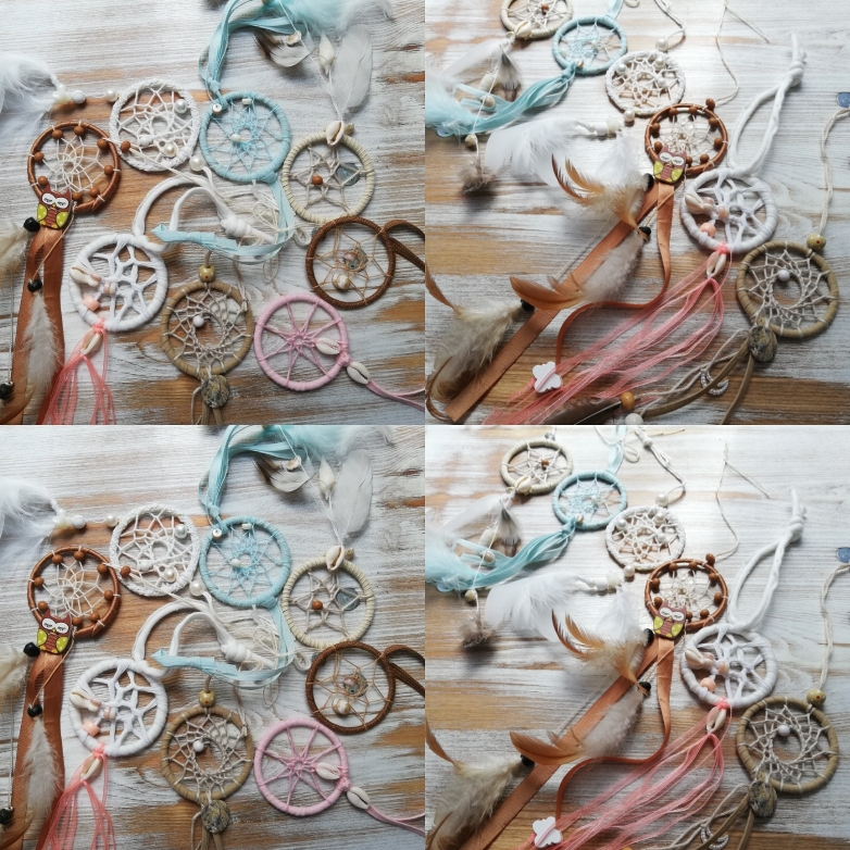 Handgemaakte mini dromenvangers in natuurtinten