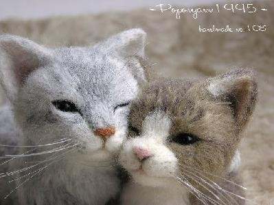 羊毛フェルト猫 さばとら&キジ白