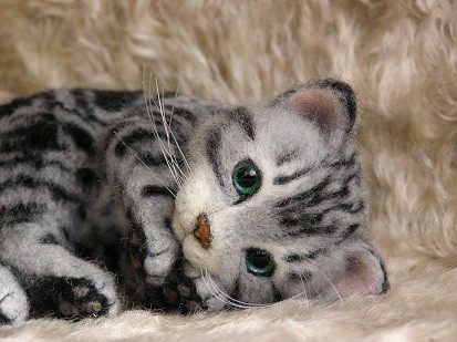 羊毛フェルト猫 アメリカンショートヘア