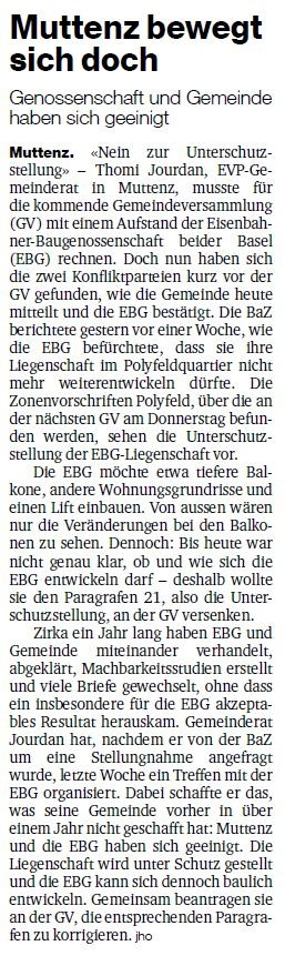 BaZ Artikel vom 9. Juni 2015