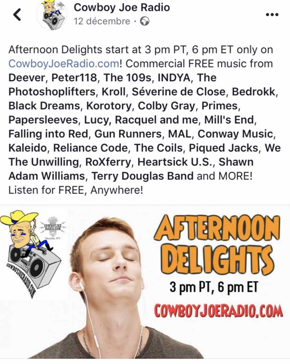 En diffusion du Cowboy Joe Radio - Indiana USA - décembre 2018