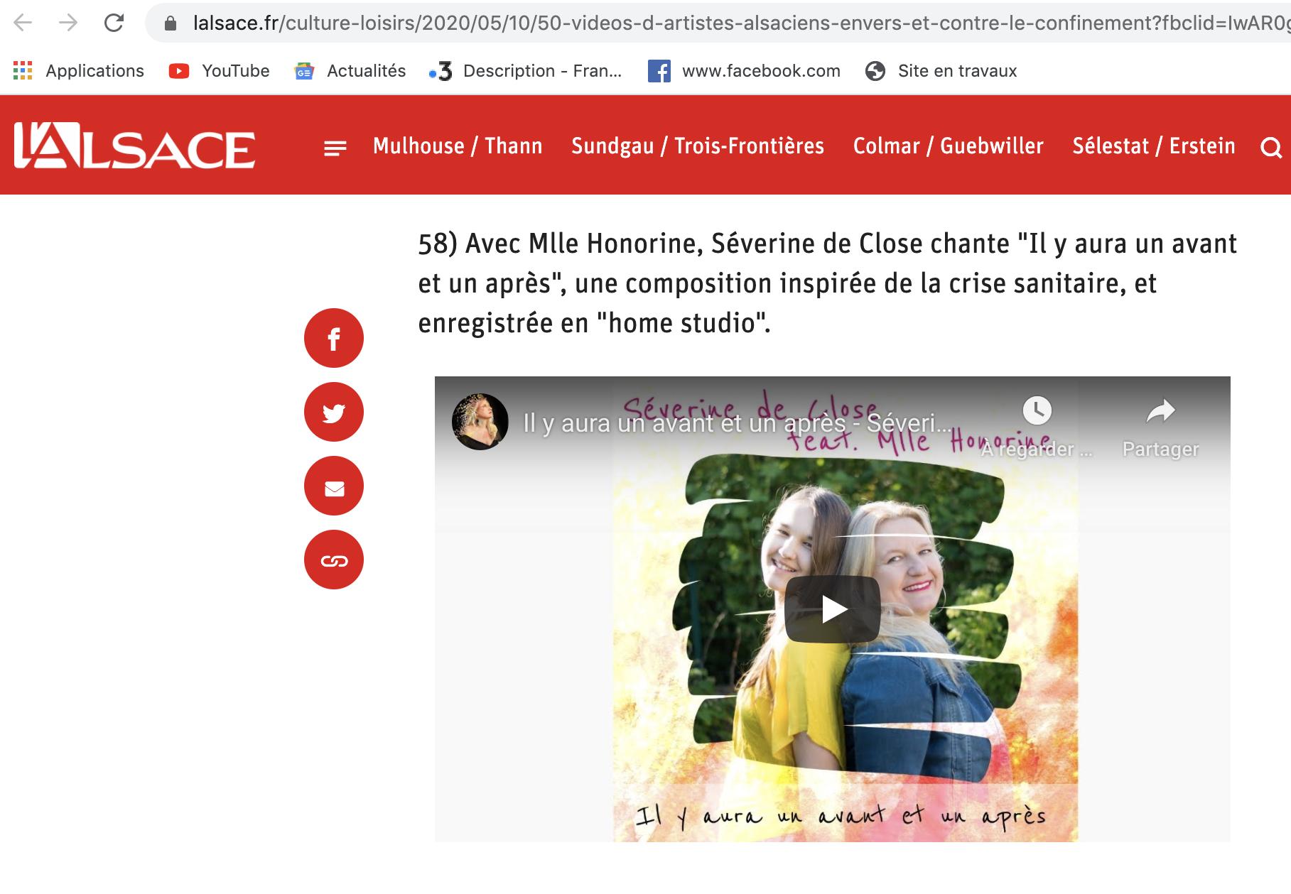 Notre single de (dé)confinement dans la playlist du journal l'Alsace - Mai 2020