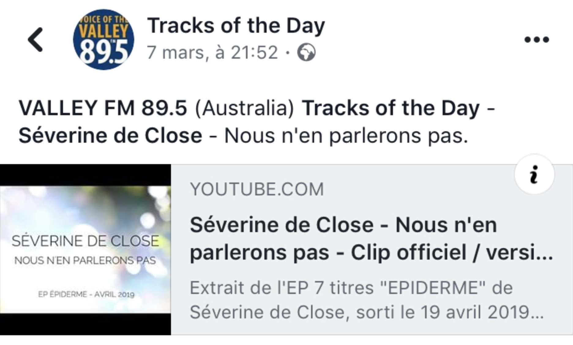 """""""Nous n'en parlerons pas"""" chanson du jour sur Valley FM en Australie - mars 2019"""