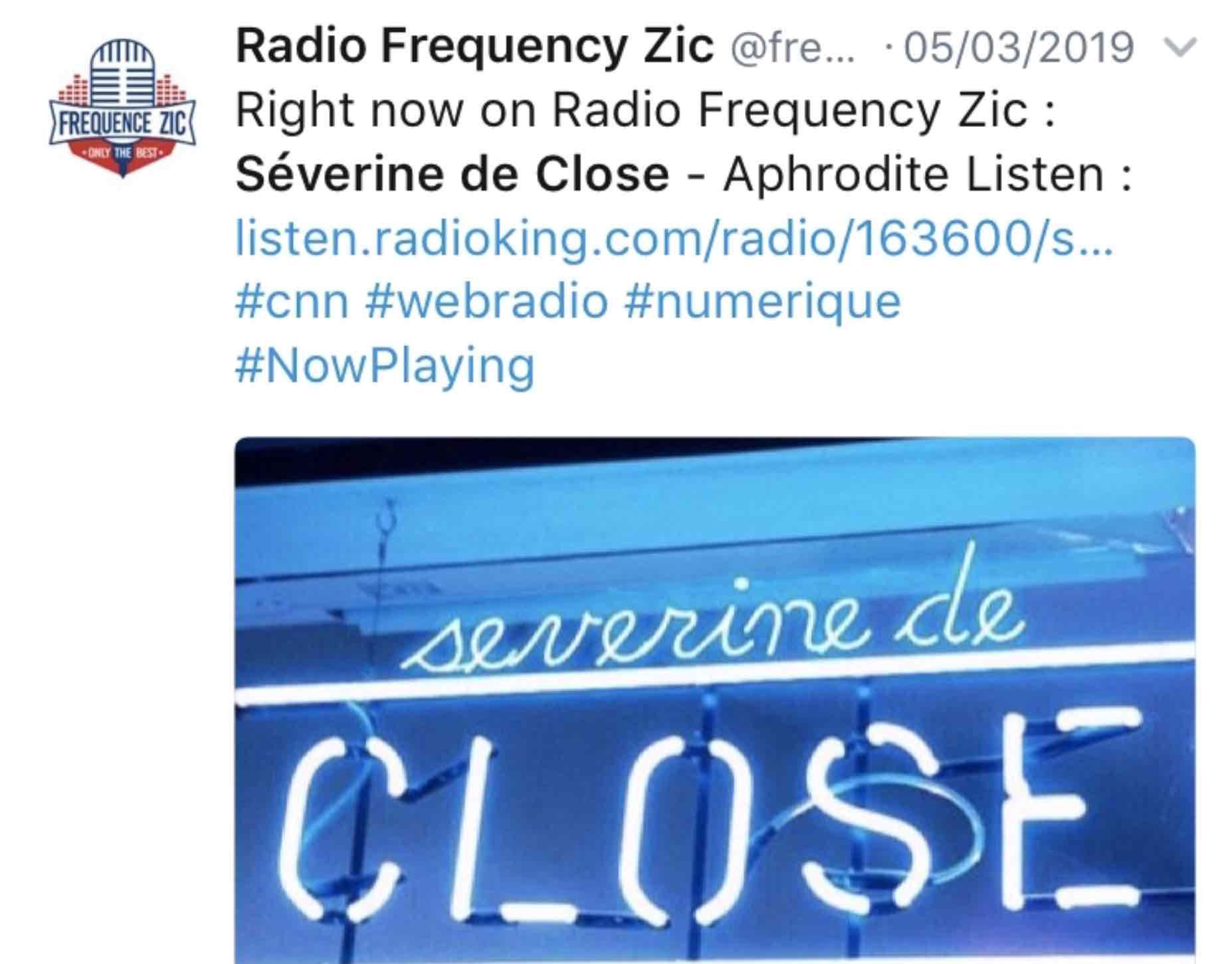 En diffusion sur Radio Fréquence Zic mars 2019