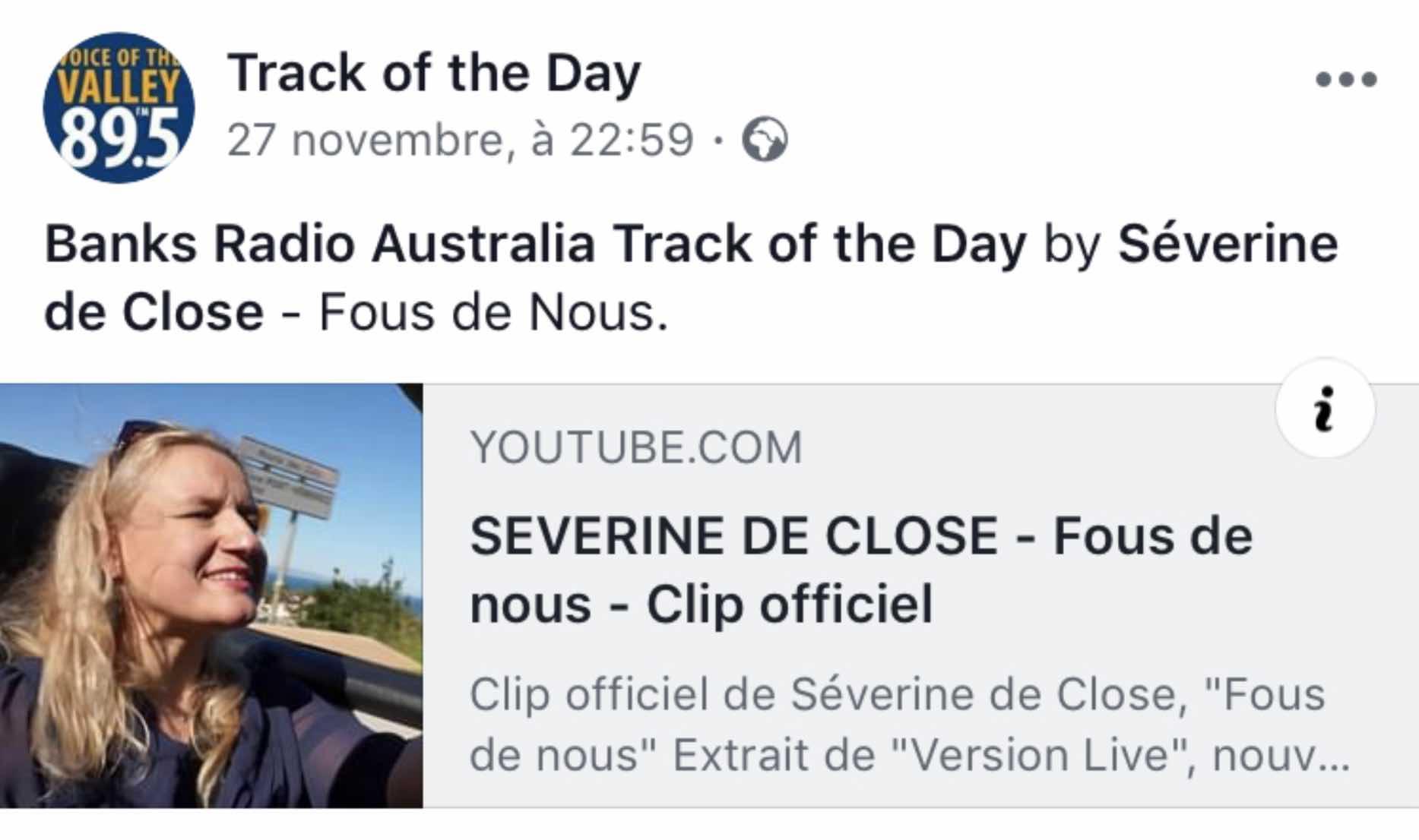 """""""Fous de nous"""" chanson du jour du Valley FM en Australie - novembre 2018"""